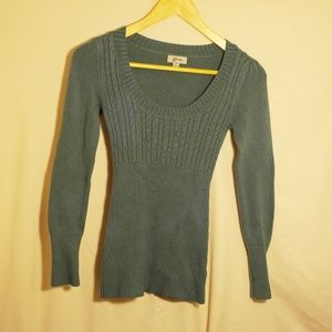 Guess Hunter Green Ribbed V-Neck Sweater